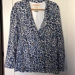 NWOT Blue Leopard Cotton Blazer